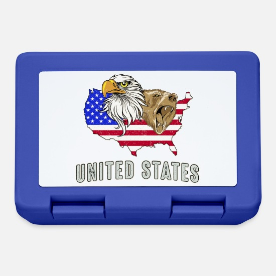 Rocky Mountains Brotdosen - USA Adler eagle Grizzlybär bear America Amerika - Brotdose Royalblau