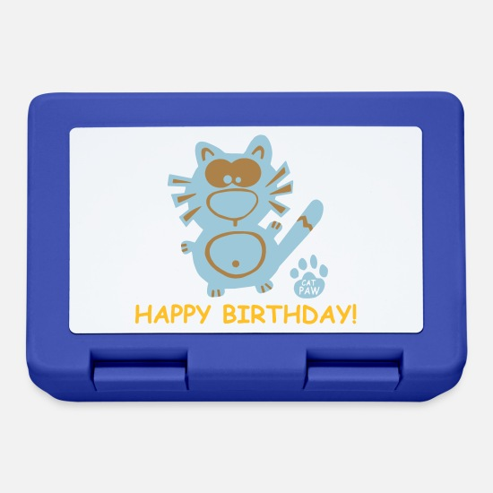 Tabby Lunchboxes - Catpaw Katze Katzen Kater Comic Happy Birthday Fun - Lunchbox royal blue