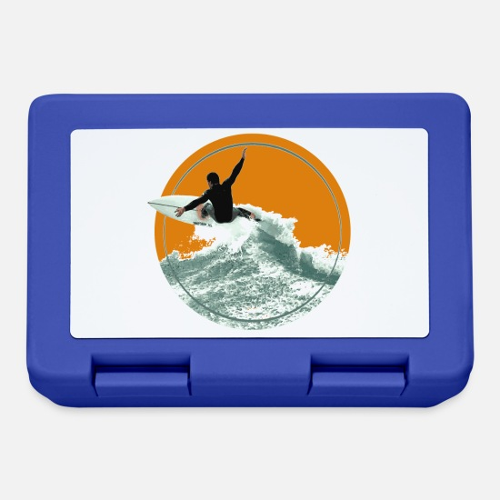 Surfer Lunchboxes - Surfer's Delight adrenaline wave sea board - Lunchbox royal blue