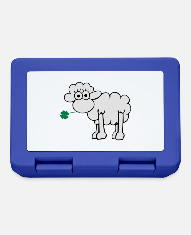 St Patricks Day Lunchboxes - Sheep with clover - Lunchbox royal blue