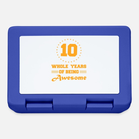Birthday Greeting Lunchboxes - 10 Whole Years Of Being Awesome - 10th Bday Gift - Lunchbox royal blue