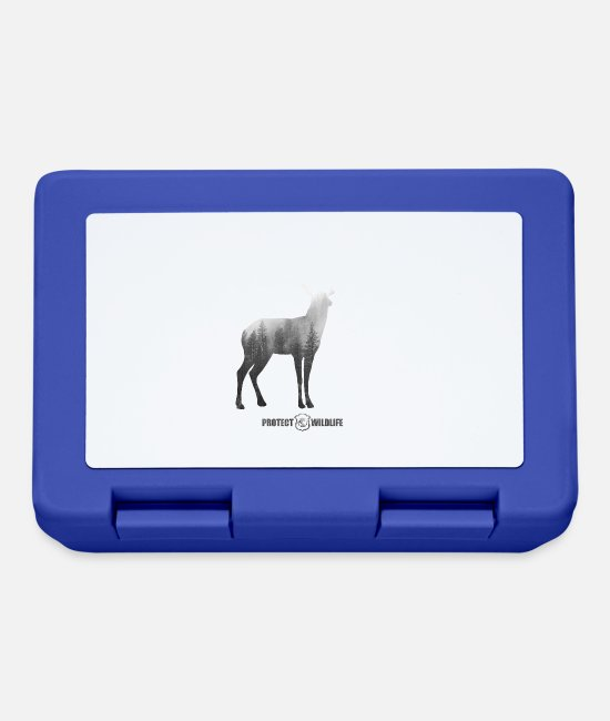Enviromental Lunchboxes - Protect Wildlife - environmental protection deer silhouette - Lunchbox royal blue