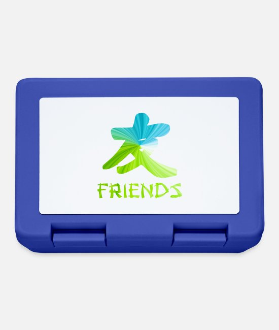 Friendship Lunchboxes - Chinese Friends symbol - best friends gift - Lunchbox royal blue