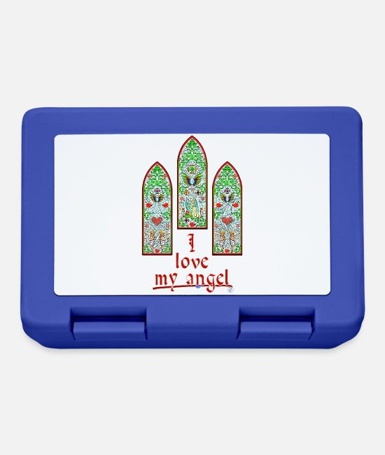 Stained Glass Windows Lunchboxes - I love my angel - By FEDVAL - Lunchbox royal blue