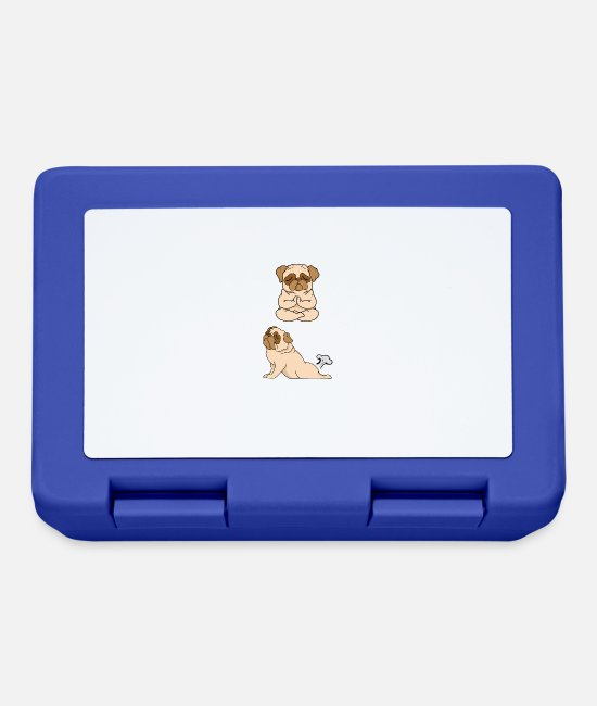 Dog Mother Lunchboxes - French Bulldog INHALE EXHALE Yoga - Lunchbox royal blue
