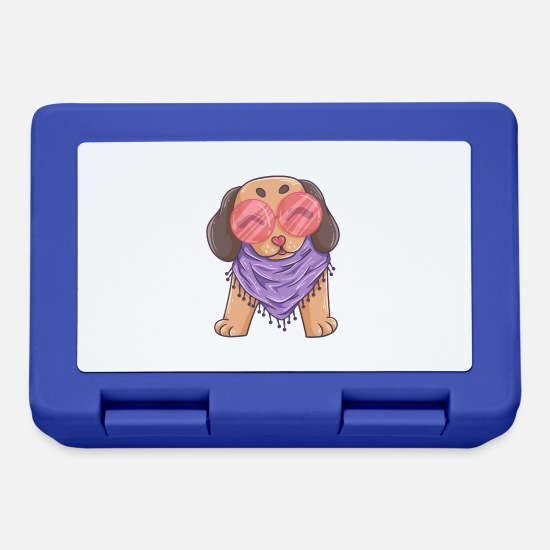 Love Lunchboxes - funny hippie dog - Lunchbox royal blue