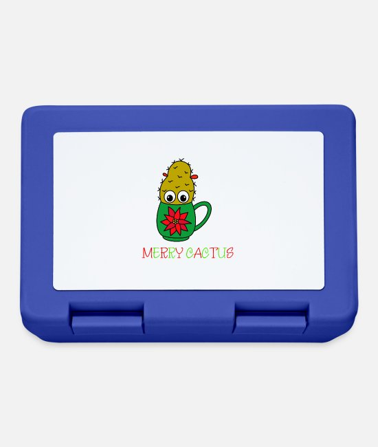 Cactus Lunchboxes - Merry Cactus - Small Christmas Cactus In - Lunchbox royal blue