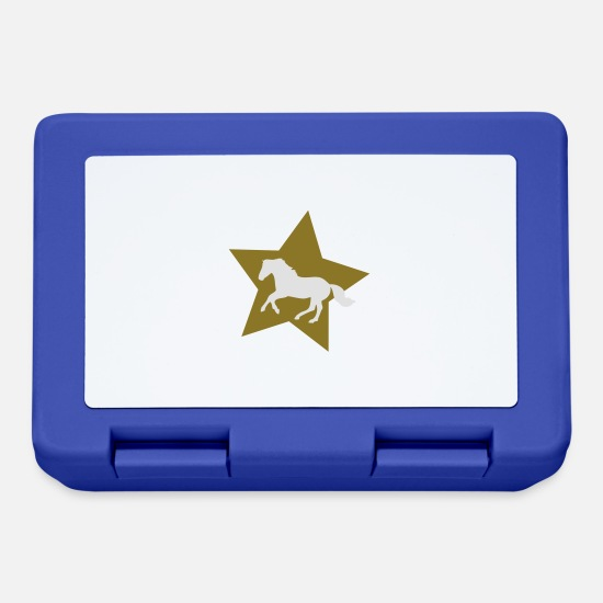 Country Lunchboxes - Galloping Horse on Gold Star - Lunchbox royal blue