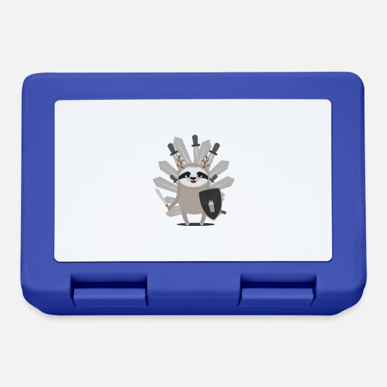Forest Lunchboxes - Medieval Sloth Knight with swords - Lunchbox royal blue