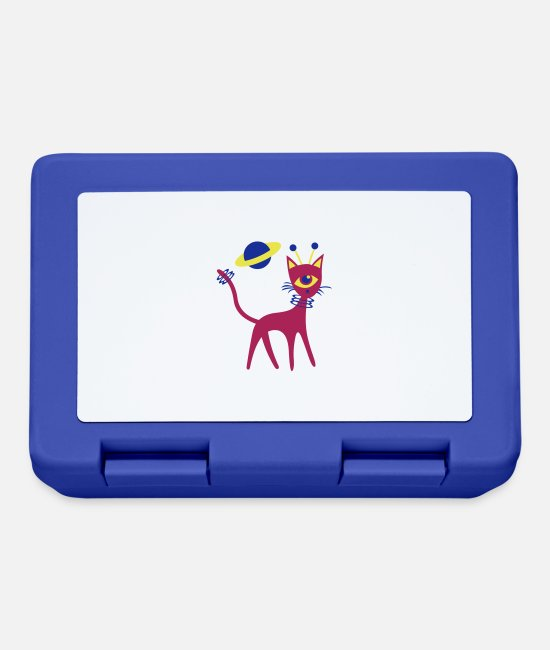 Space Lunchboxes - Space Cat - Lunchbox royal blue