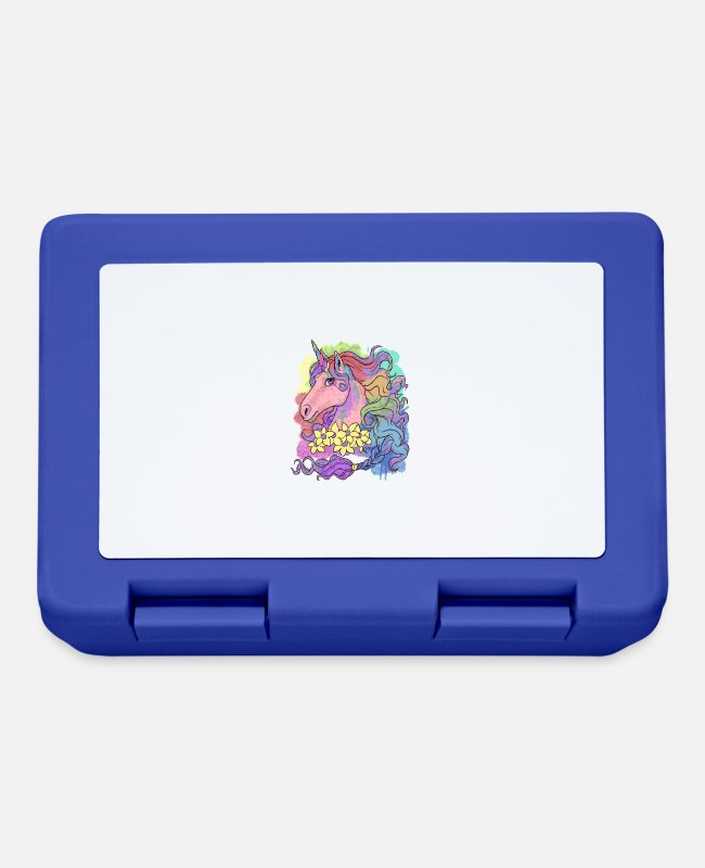 Fairy Tale Figure Lunchboxes - Unicorn Watercolor - Unicorn Mythical Creature Rainbow - Lunchbox royal blue