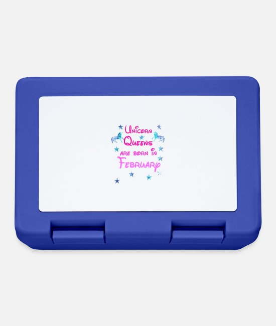 Glitter Lunchboxes - Unicorn Queens born February February - Lunchbox royal blue