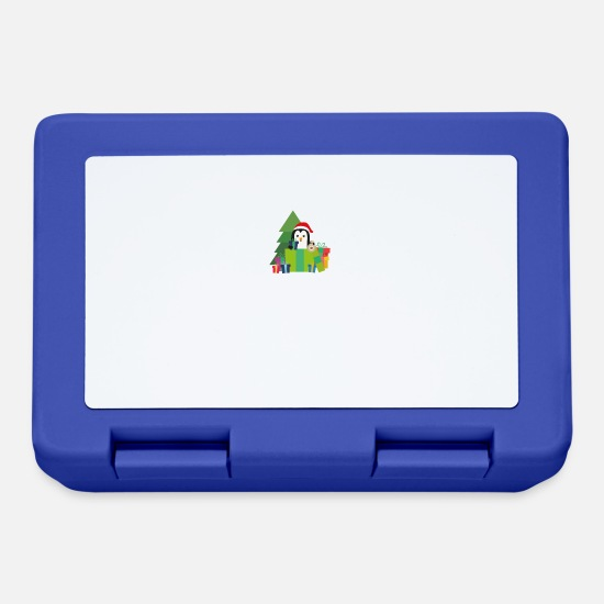 Nature Lunchboxes - Christmas Penguin with Presents - Lunchbox royal blue