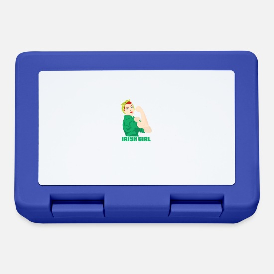 St Lunchboxes - Funny Irish Girl St. Patricks Holiday Green - Lunchbox royal blue
