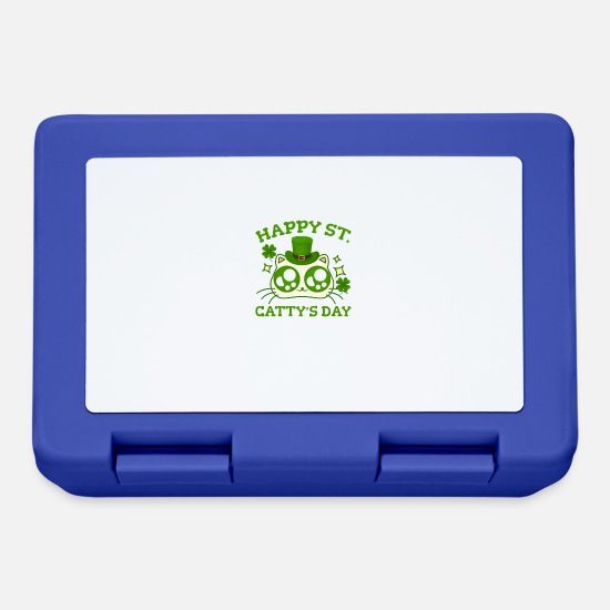St Patricks Day Lunchboxes - Happy St. Catty's Day St Patricks Funny Cat Clover - Lunchbox royal blue