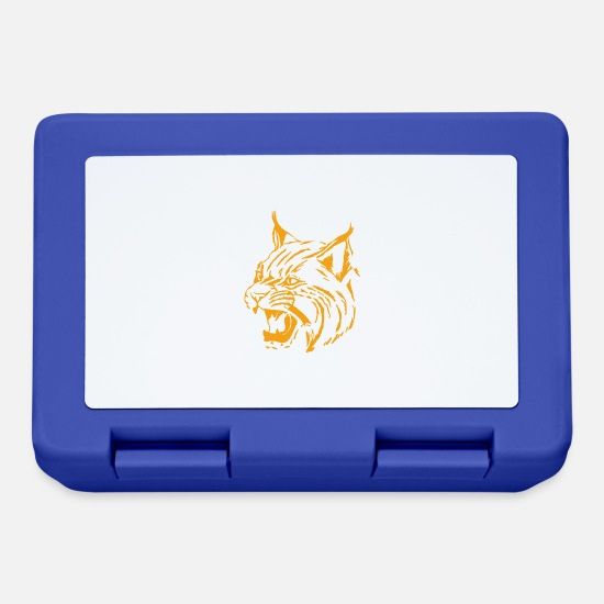 Wild Cat Lunchboxes - Tiger orange, lynx, panter, big cat - Lunchbox royal blue
