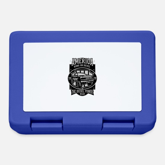 Automobile Lunchboxes - Runs On Diesel2 - Lunchbox royal blue