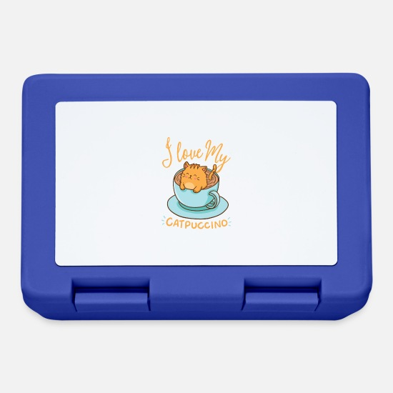 Espresso Lunchboxes - I love my cappuccino - Catpuccino - Lunchbox royal blue