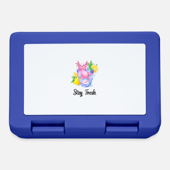 Glass Lunchboxes - Axolotl in a glass - Stay Fresh - Lunchbox royal blue