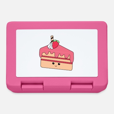 Piece of cake | Cute | Face | Strawberry | cream - Lunchbox