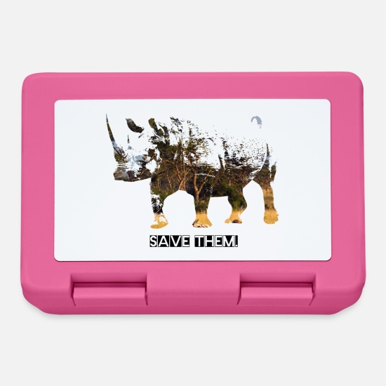 Rhinoceros Lunchboxes - Save the rhinos - Lunchbox pink