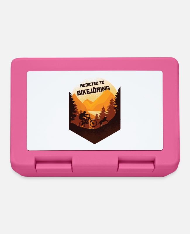 Mountains Lunchboxes - Addicted to bikejoring, dog dog sport - Lunchbox pink