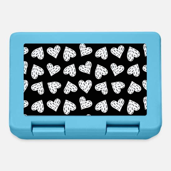 Lunchbox Lunchboxes - SWEET HEART HATCHED BLACK WHITE - Lunchbox sapphire blue