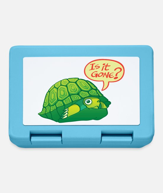 Fear Lunchboxes - Green turtle asks if can come out of shell - Lunchbox sapphire blue