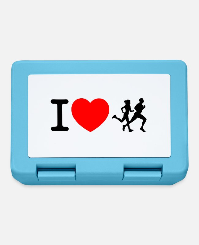 Heart Lunchboxes - I love racing - jogging - Lunchbox sapphire blue