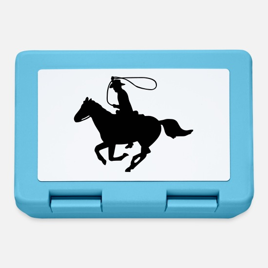Cowboy Lunchboxes - Cowboy on a Horse - Lunchbox sapphire blue