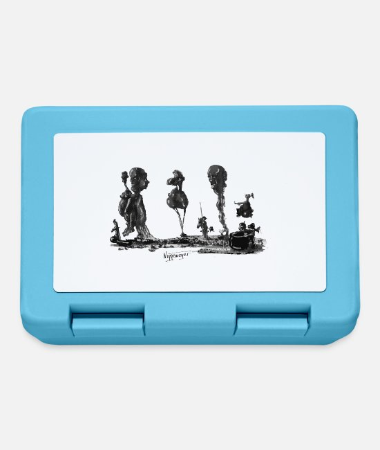 "Painter Lunchboxes - ""Münchhausen points to the double standard ..."" - Lunchbox sapphire blue"