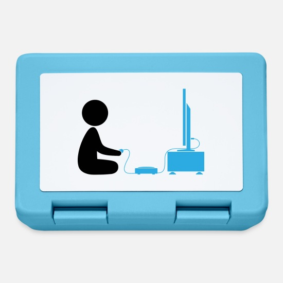 Console Lunchboxes - A boy plays with his games console - Lunchbox sapphire blue