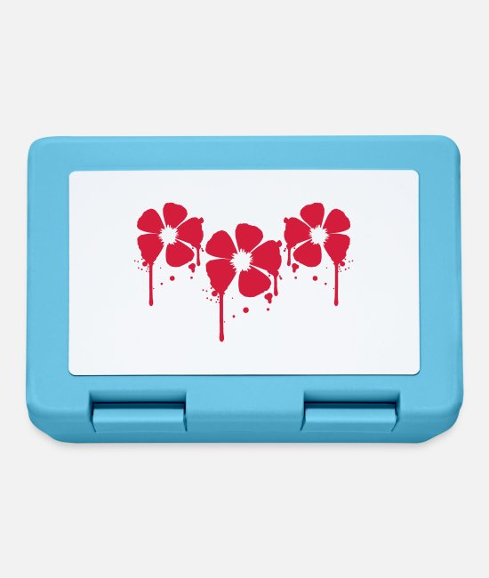 Spring Lunchboxes - 3 red flowers blood drop party graffiti design - Lunchbox sapphire blue