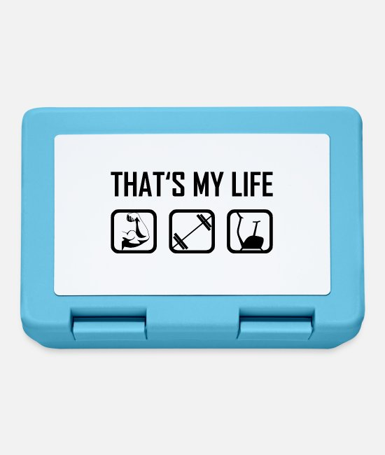 Body Builder Lunchboxes - This is my life - fitness dumbbells sports muscles - Lunchbox sapphire blue