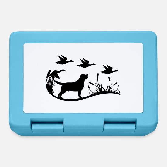 Labrador Lunchboxes - Labrador with reeds and ducks - Lunchbox sapphire blue