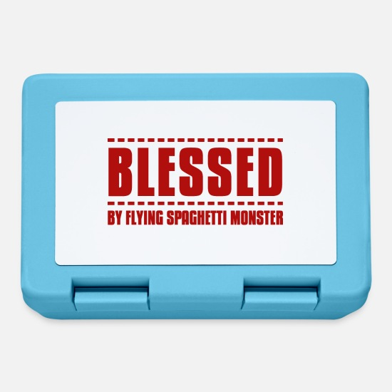 Church Lunchboxes - Blessed by flying spaghetti monster pastafarian re - Lunchbox sapphire blue