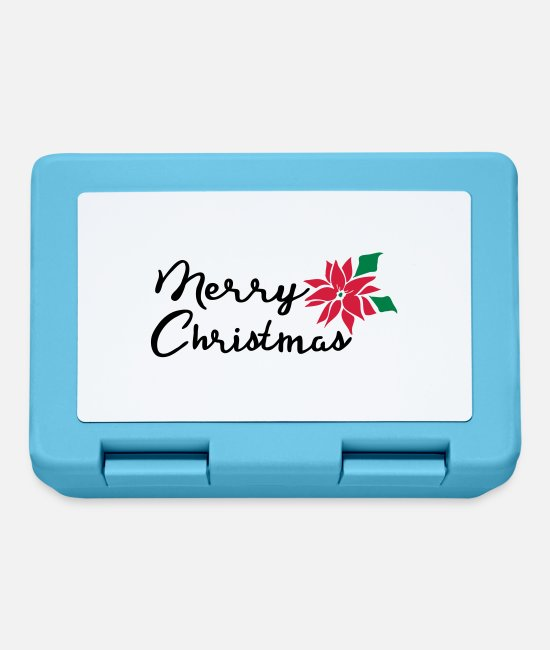 Typography Lunchboxes - Merry Christmas poinsettia flowers - Lunchbox sapphire blue