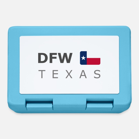 Texas Lunch boxes - DFW TEXAS dark-lettered 400 dpi - Lunch box blu zaffiro