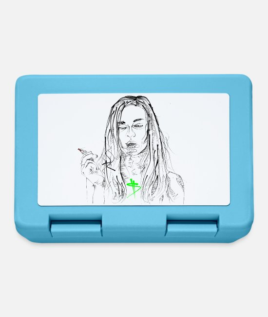 Haired Lunchboxes - smoking girl - Lunchbox sapphire blue