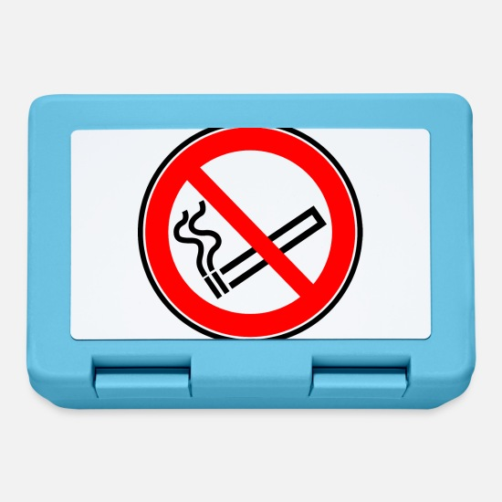 Cigarette Lunchboxes - No smoking sign No smoking cigarette - Lunchbox sapphire blue