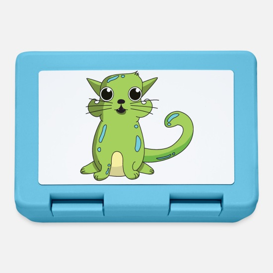 Gift Idea Lunchboxes - Green cat with big eyes - Lunchbox sapphire blue
