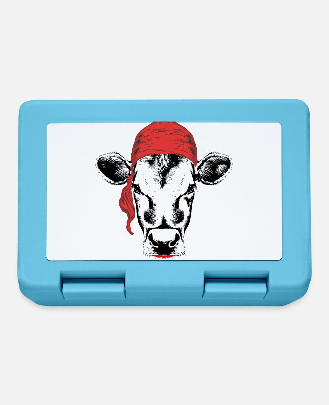 Pirate Flag Lunchboxes - Pirate cow - Lunchbox sapphire blue