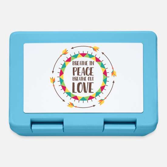 Hippie Lunchboxes - Hippie / Hippies: Breathe in peace. Breathe out - Lunchbox sapphire blue