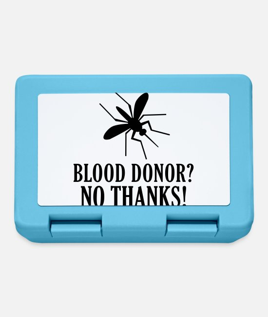 Pierce Lunchboxes - Blood Donor No thanks mosquito bite mosquito vampire - Lunchbox sapphire blue