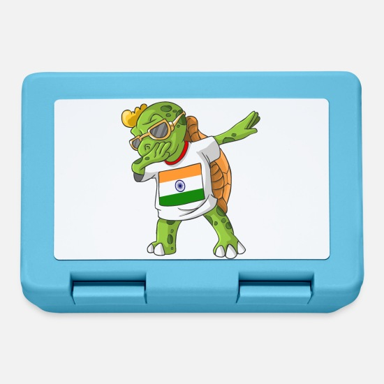 India Flag Lunchboxes - India Dabbing turtle - Lunchbox sapphire blue