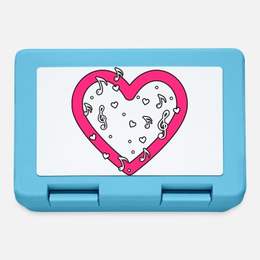 Music heart heart pink with music notes notes heart - Lunchbox