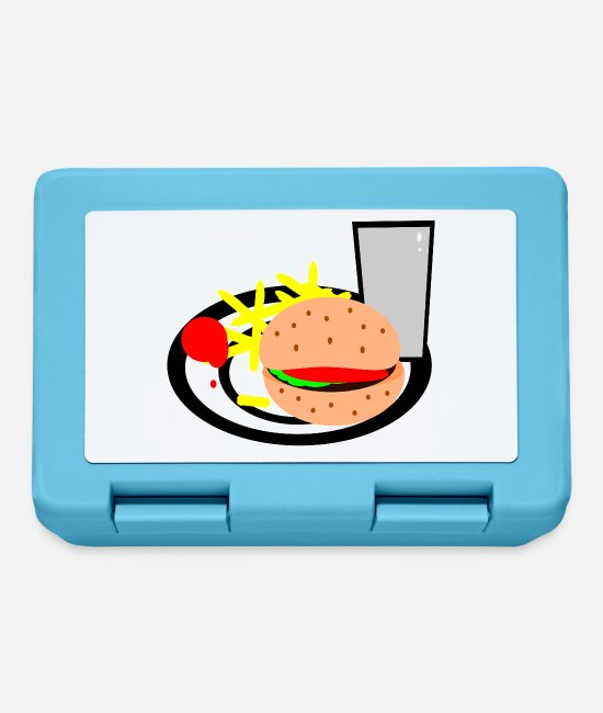 Grill Lunchboxes - burger hamburger cheeseburger fast food fastfood5 - Lunchbox sapphire blue