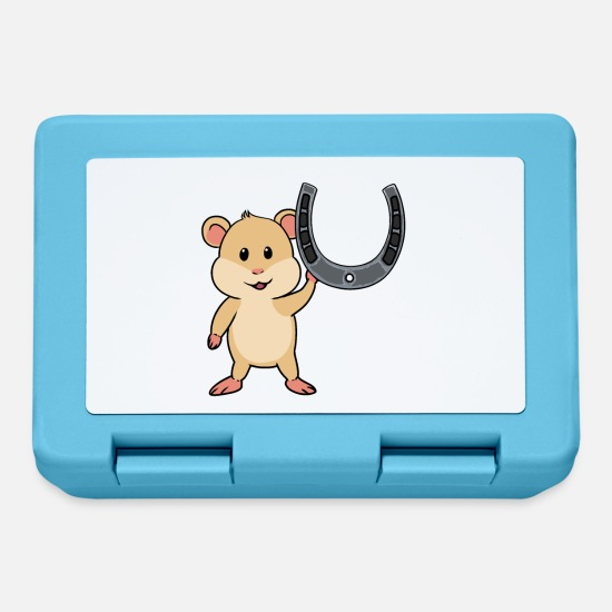 Horseshoe Lunchboxes - Hamster rodent horseshoe - Lunchbox sapphire blue