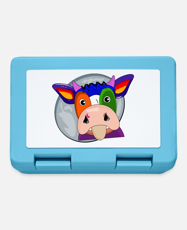 Crop Lunchboxes - cow at farmers - cow at farmers - Lunchbox sapphire blue
