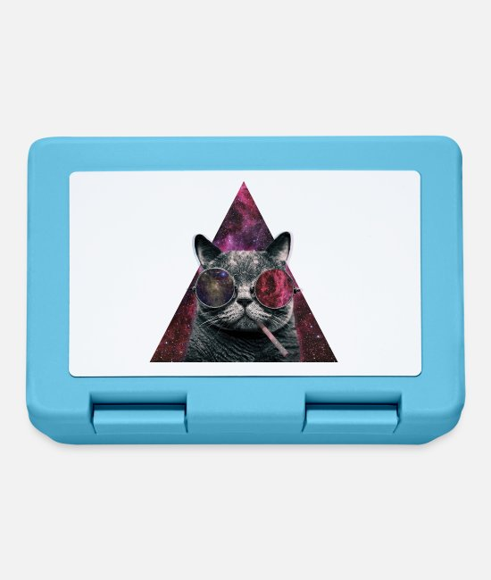 Cigarette Lunchboxes - Hipster Cat Smoking - Lunchbox sapphire blue